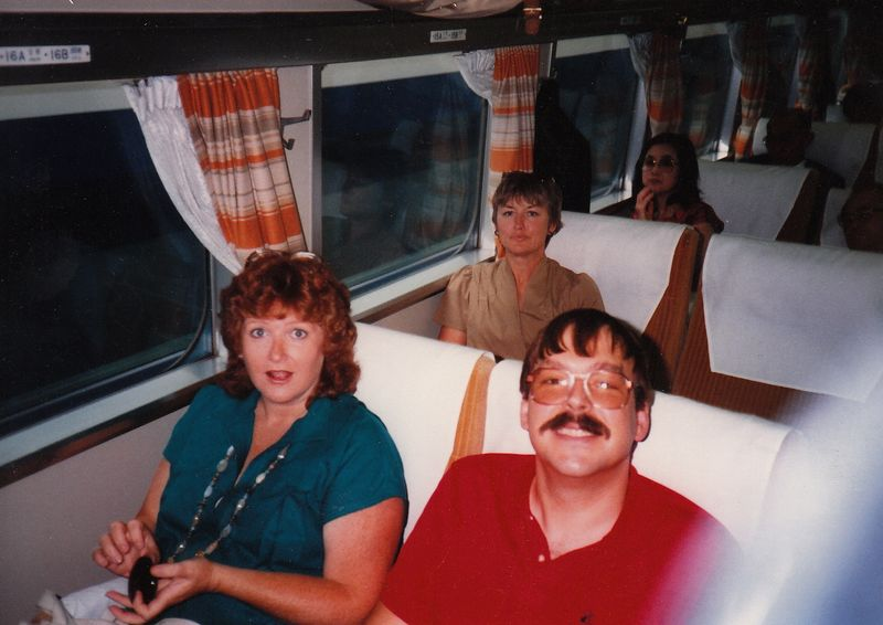 Mom on a train